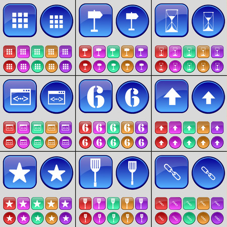 up code: Apps, Sign, Hourglass, Code, Six, Arrow up, Star, Paddle, Link. A large set of multi-colored buttons. Vector illustration