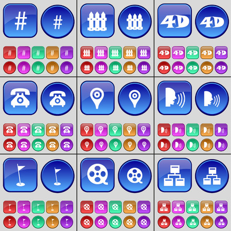 videotape: Hashtag, Fence, 4D, Receiver, Checkpoint, Talk, Golf hole, Videotape, Network. A large set of multi-colored buttons. Vector illustration Illustration