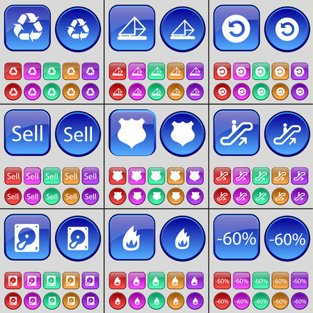 hard sell: Recycling, Message, Power, Sell, Police badge, Escalator, Hard drive, Fire, Discount. A large set of multi-colored buttons. Vector illustration Illustration