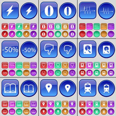 disco duro: Flash, cero, Pulso, Descuento, aversión, Disco duro, libro, Checkpoint, Tren. Un gran conjunto de botones multicolores. ilustración vectorial Vectores