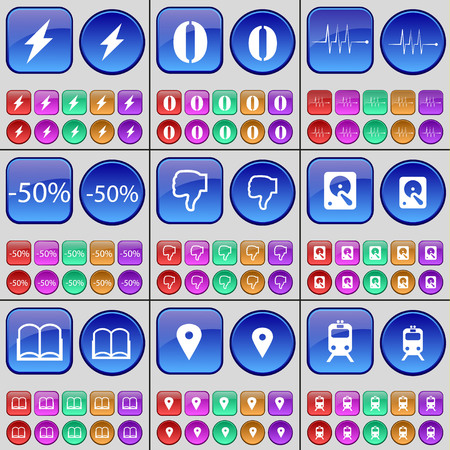 checkpoint: Flash, Zero, Pulse, Discount, Dislike, Hard drive, Book, Checkpoint, Train. A large set of multi-colored buttons. Vector illustration