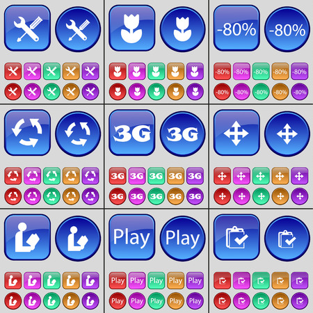 3g: Wrench, Flower, Discount, Recycling, 3G, Moving, Reading, Play, Survey. A large set of multi-colored buttons. Vector illustration Illustration