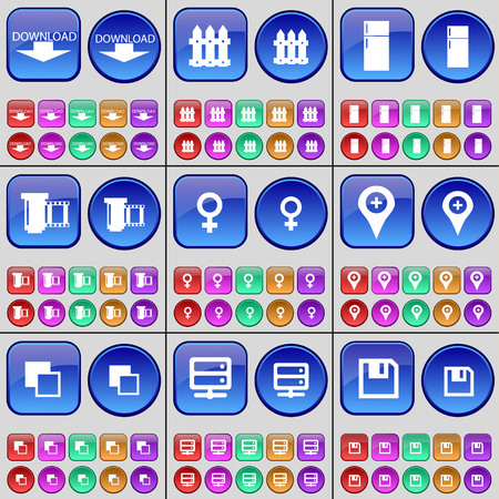 venus: Download, Fence, Refrigerator, Negative films, Venus symbol, Checkpoint, Copy, Server, Floppy disk. A large set of multi-colored buttons. Vector illustration Illustration