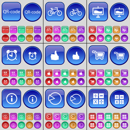 qrcode: QR-code, Bicycle, Graph, Alarm clock, Like, Shopping cart, Information, Diagram, Calculator. A large set of multi-colored buttons. Vector illustration