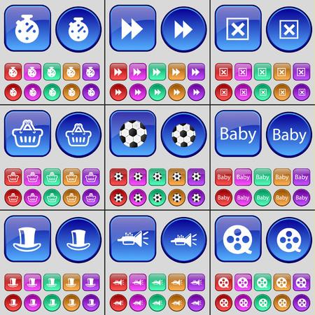 videotape: Stopwatch, Rewind, Stop, Basket, Ball, Baby, Silk hat, Trumpet, Videotape. A large set of multi-colored buttons. Vector illustration