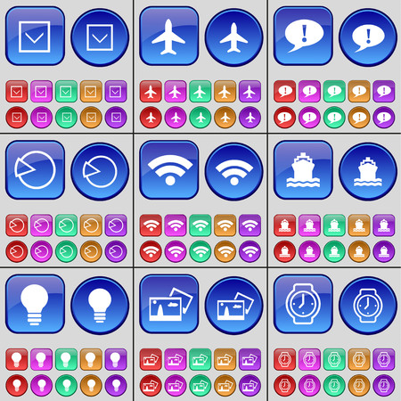 orologio da polso: Arrow down, Airplane, Chat bubble, Diagram, Wi-Fi, Ship, Light bulb, Picture, Wrist watch. A large set of multi-colored buttons. Vector illustration
