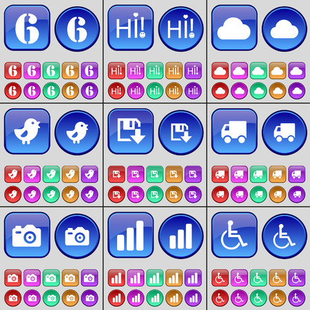 personne handicap�e: Six, Hi, Cloud, Bird, Floppy disk, Truck, Camera, Diagram, Disabled person. A large set of multi-colored buttons. Vector illustration