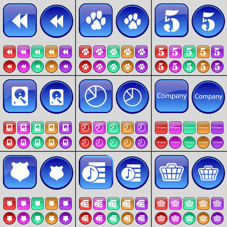 playlist: Rewind, Paw, Five, Hard drive, Diagram, Company, Police badge, Playlist, Basket. A large set of multi-colored buttons. Vector illustration