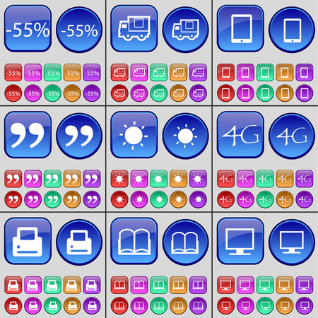 book mark: Discount, Truck, Tablet, Quotation mark, Light, 4G, Printer, Book, Monitor. A large set of multi-colored buttons. Vector illustration Illustration