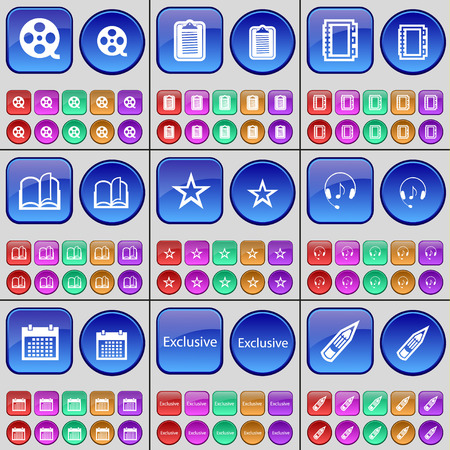 videotape: Videotape, Survey, Notebook, Book, Star, Headphones, Calendar, Exclusive, Pencil. A large set of multi-colored buttons. Vector illustration Illustration