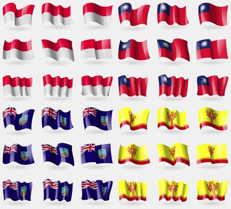 montserrat: Monaco, Taiwan, Montserrat, Chuvashia. Set of 36 flags of the countries of the world. Vector illustration