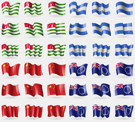 36: Abkhazia, Nicaragua, China, Cook Islands. Set of 36 flags of the countries of the world. Vector illustration