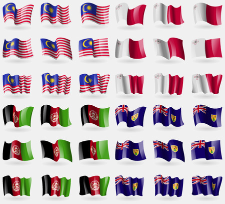 36: Malaysia, Malta, Afghanistan, Turks and Caicos. Set of 36 flags of the countries of the world. Vector illustration