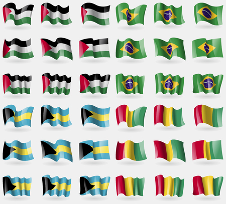 world flags: Palestine, Brazil, Bahamas, Guinea. Set of 36 flags of the countries of the world. Vector illustration
