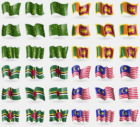 36: Adygea, Sri Lanka, Dominica, Malaysia. Set of 36 flags of the countries of the world. Vector illustration
