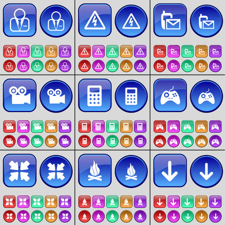 freccia giù: Avatar, Warning, SMS, Film camera, Calculator, Gamepad, Deploying screen, Campfire, Arrow down. A large set of multi-colored buttons. Vector illustration Vettoriali