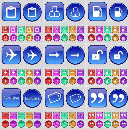 arrow right: Survey, Avatar, Gas station, Airplane, Arrow right, Lock, Exclusive, Tag, Quotation mark. A large set of multi-colored buttons. Vector illustration Vettoriali