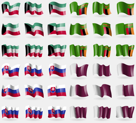 36: Kuwait, Zambia, Slovakia, Qatar. Set of 36 flags of the countries of the world. Vector illustration