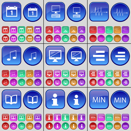 min: Cloud, PC, Pulse, Note, Monitor, List, Book, Information, Min. A large set of multi-colored buttons. Vector illustration