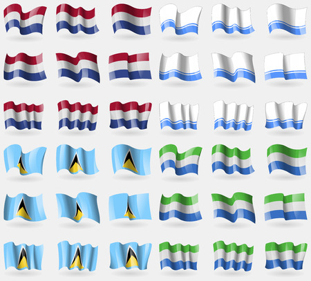 altai: Netherlands, Altai Republic, Saint Lucia, Sierra Leone. Set of 36 flags of the countries of the world. Vector illustration