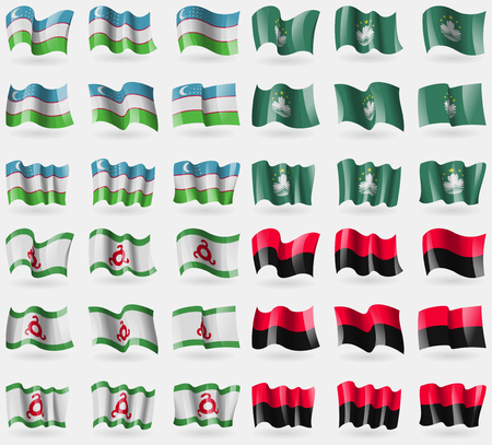 macau: Uzbekistan, Macau, Ingushetia, UPA. Set of 36 flags of the countries of the world. Vector illustration Illustration