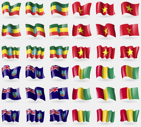 montserrat: Ethiopia, Vietnam, Montserrat, Guinea. Set of 36 flags of the countries of the world. Vector illustration Illustration