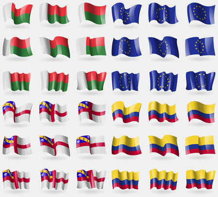 european culture: Madagascar, European Union, Herm, Colombia. Set of 36 flags of the countries of the world. Vector illustration Illustration