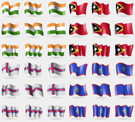 guam: India, East Timor, Faroe Islands, Guam. Set of 36 flags of the countries of the world. Vector illustration