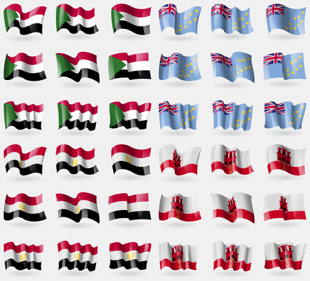 Sudan, Tuvalu, Egypt, Gibraltar. Set of 36 flags of the countries of the world. Vector illustration