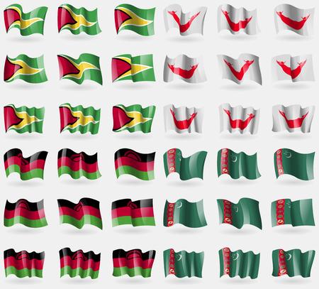 rapa nui: Guyana, Eastar Rapa Nui, Malawi, Turkmenistán. Conjunto de 36 banderas de los países del mundo. ilustración vectorial