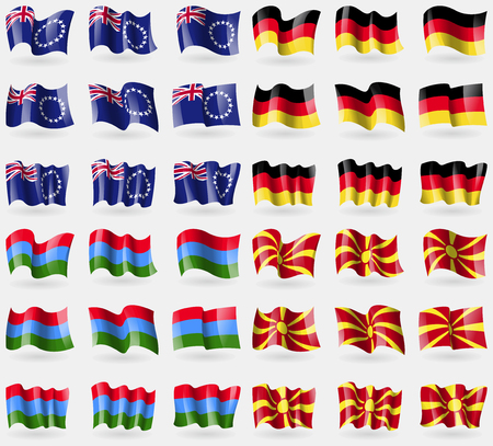 36: Cook Islands, Germany, Karelia, Macedonia. Set of 36 flags of the countries of the world. Vector illustration