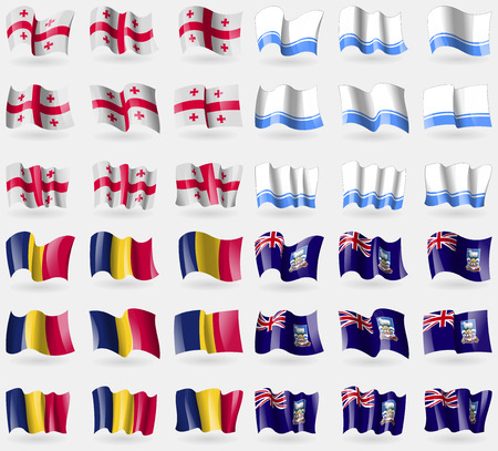 altai: Georgia, Altai Republic, Chad, Falkland Islands. Set of 36 flags of the countries of the world. Vector illustration