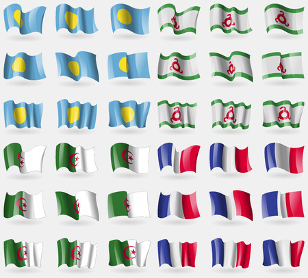 36: Palau, Ingushetia, Algeria, France. Set of 36 flags of the countries of the world. Vector illustration Illustration