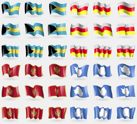 36: Bahamas, North Ossetia, Montenegro, Antarctica. Set of 36 flags of the countries of the world. Vector illustration