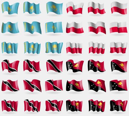 adn: Kazajst�n, Polonia, Trinidad Tobago adn, Pap�a Nueva Guinea. Conjunto de 36 banderas de los pa�ses del mundo. Ilustraci�n vectorial