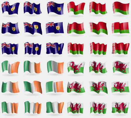 the turks: Turks and Caicos, Belarus, Ireland, Wales. Set of 36 flags of the countries of the world. Vector illustration