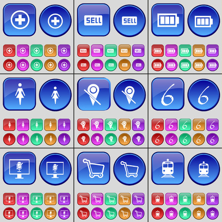 checkpoint: Plus, Sell, Battery, Silhouette, Checkpoint, Six, Monitor, Shopping cart, Train. A large set of multi-colored buttons. Vector illustration