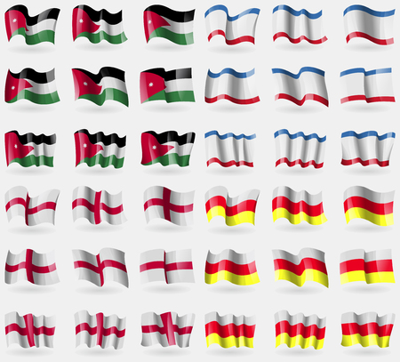 crimea: Jordan, Crimea, England, North Ossetia. Set of 36 flags of the countries of the world. Vector illustration