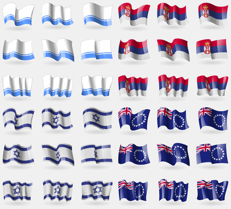 altai: Altai Republic, Serbia, Israel, Cook Islands. Set of 36 flags of the countries of the world. Vector illustration