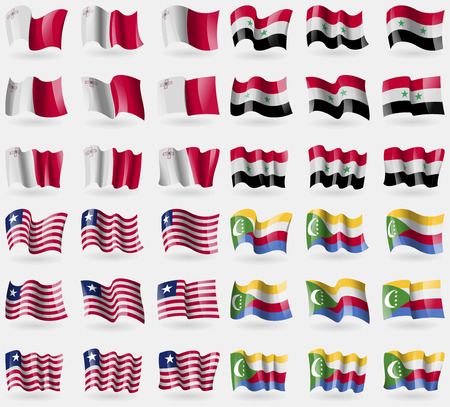 comoros: Malta, Syria, Liberia, Comoros. Set of 36 flags of the countries of the world. Vector illustration Vectores