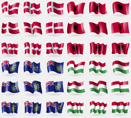 pitcairn: Denmark, Albania, Pitcairn Islands, Hugary. Set of 36 flags of the countries of the world. Vector illustration