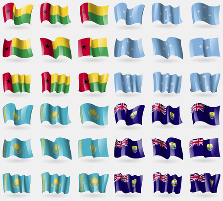 helena: GuineaBissau, Micronesia, Kazakhstan, Saint Helena. Set of 36 flags of the countries of the world. Vector illustration Illustration