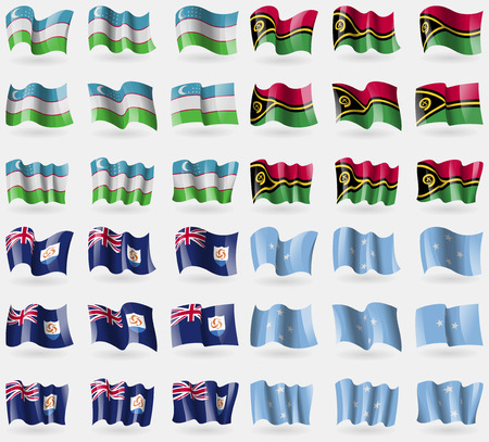anguilla: Uzbekistan, Vanuatu, Anguilla, Micronesia. Set of 36 flags of the countries of the world. Vector illustration