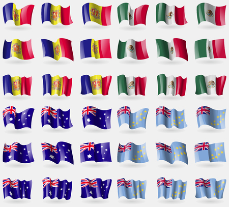 36: Andorra, Mexico, Australia, Tuvalu. Set of 36 flags of the countries of the world. Vector illustration Illustration