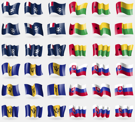 French and Antarctic, GuineaBissau, Barbados, Slovakia. Set of 36 flags of the countries of the world. Vector illustration Illustration