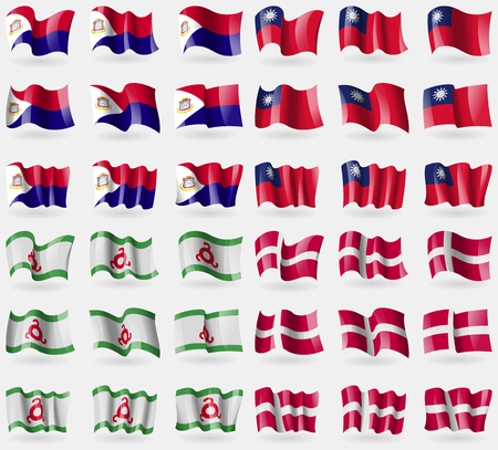 martin: Saint Martin, Taiwan, Ingushetia, Denmark. Set of 36 flags of the countries of the world. Vector illustration