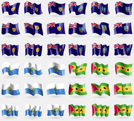 montserrat: Turks and Caicos, Montserrat, San Marino, Sao Tome and Principe. Set of 36 flags of the countries of the world. Vector illustration