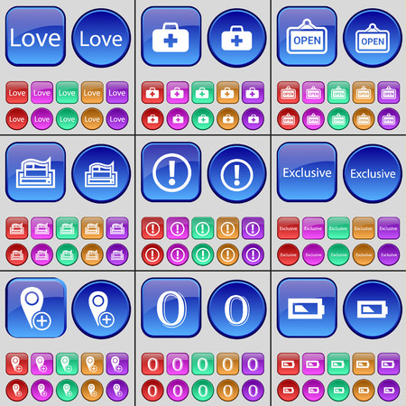 firstaid: Love, First-aid kit, Open, Printer, Warning, Exclusive, Checkpoint, Zero, Battery. A large set of multi-colored buttons. Vector illustration Illustration