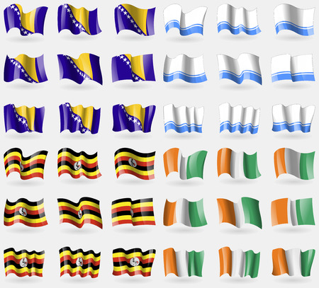 altai: Bosnia and Herzegovina, Altai Republic, Uganda, Cote Divoire. Set of 36 flags of the countries of the world. Vector illustration Illustration
