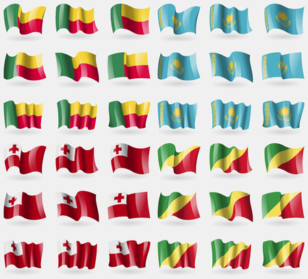 36: Benin, Kazakhstan, Tongo, Congo Republic. Set of 36 flags of the countries of the world. Vector illustration